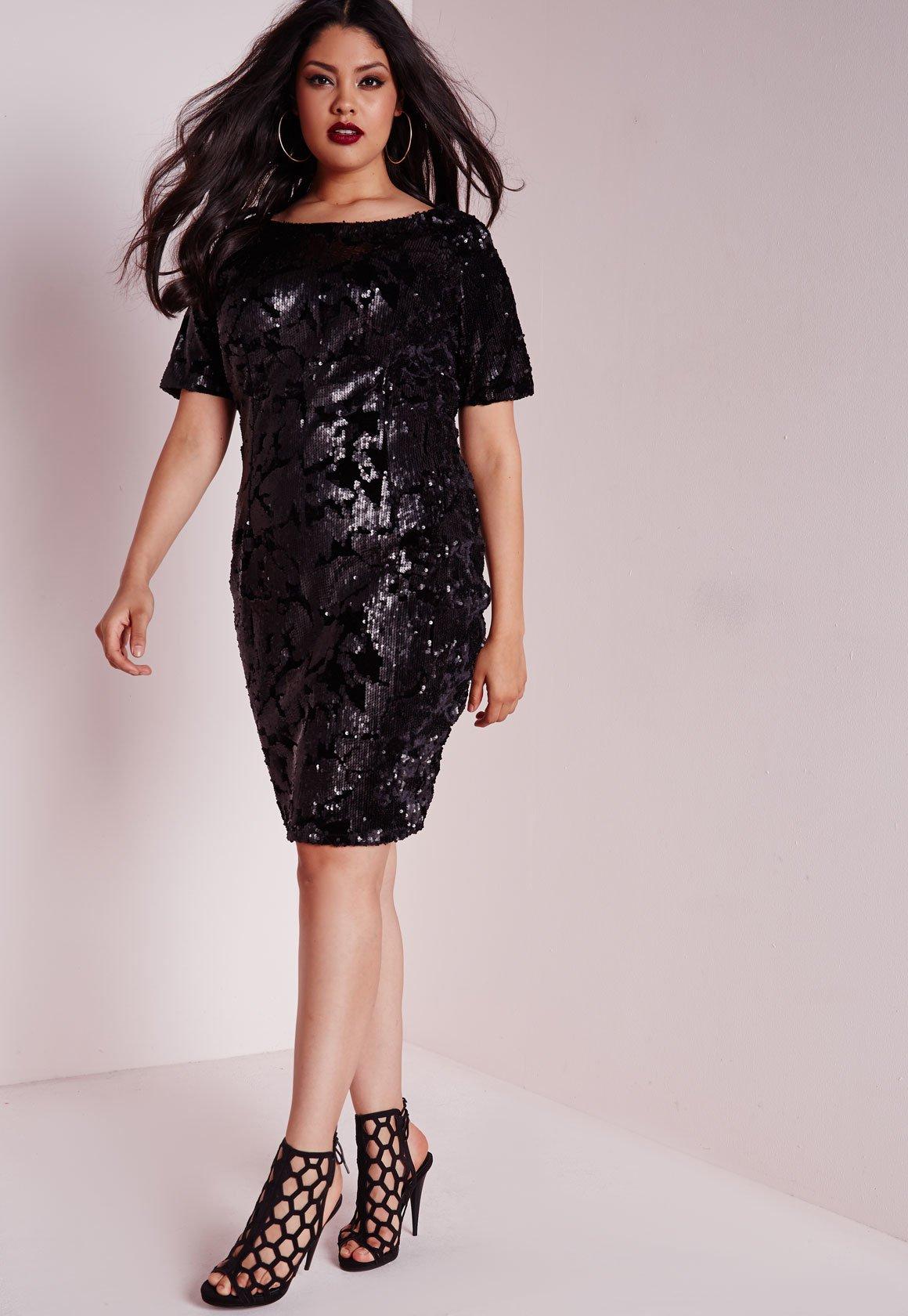Plus Size Sequin Dress Black