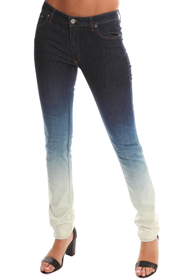 Acne Studios Denim Flex Ombré Skinny Mid-Rise Jeans in Blue