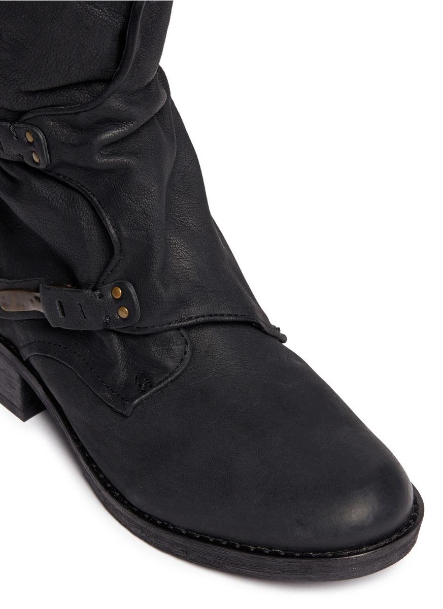 e3d487f00c6d Lyst - Sam Edelman  ridge  Latch Strap Leather Boots in Black
