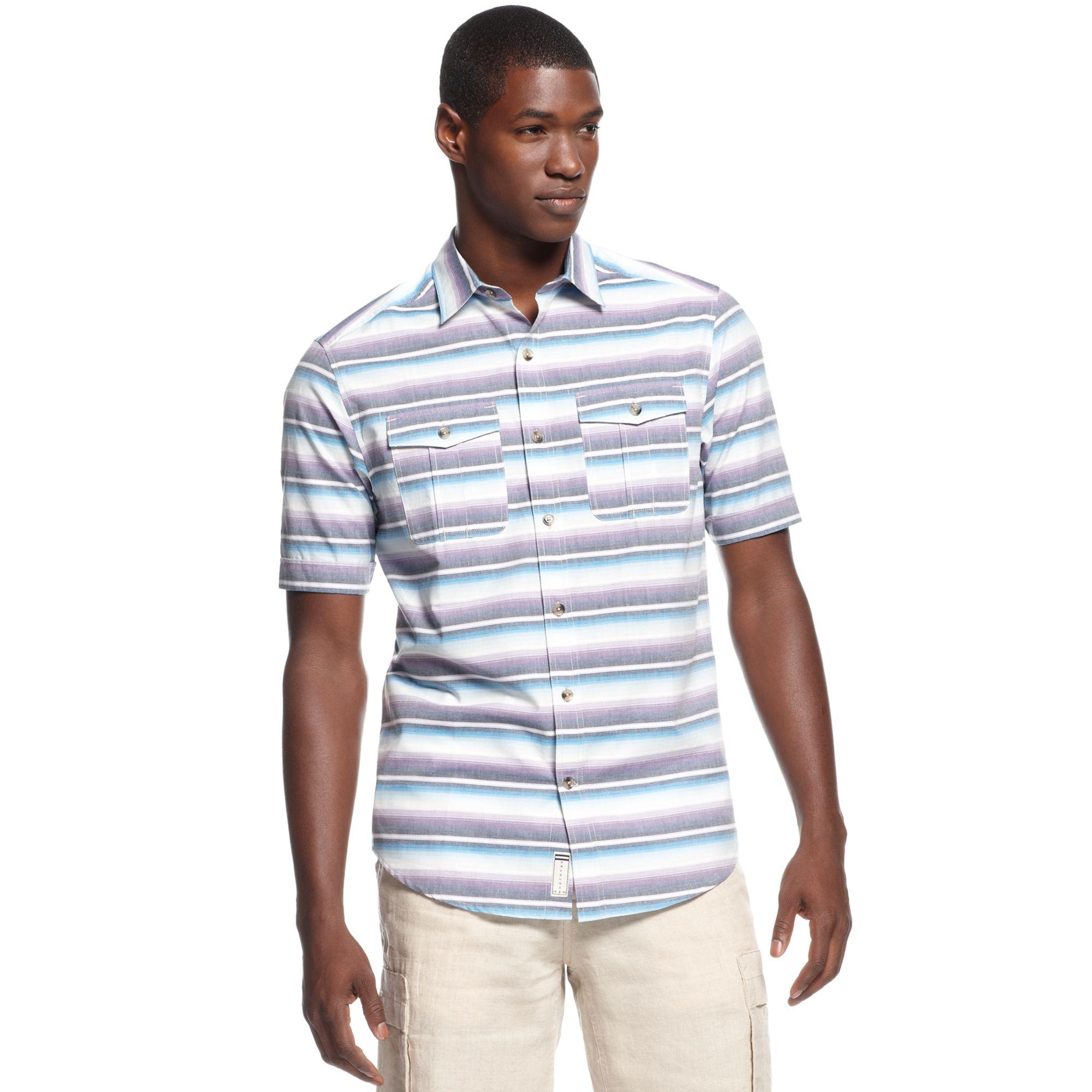 Sean john Ombre Striped Shirt in Blue for Men | Lyst