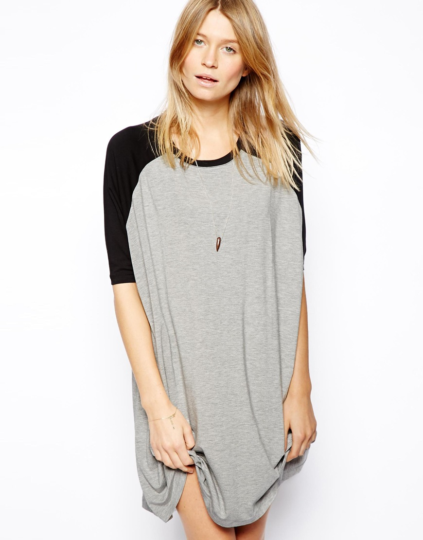Lyst Asos T Shirt Dress With Baseball Sleeve In Black