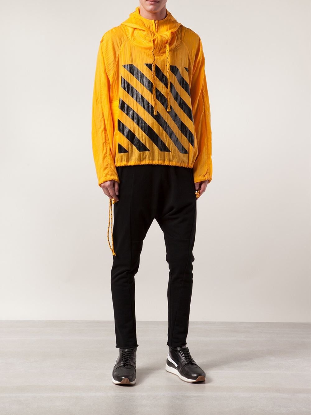 off white c o virgil abloh windbreaker jacket in yellow. Black Bedroom Furniture Sets. Home Design Ideas