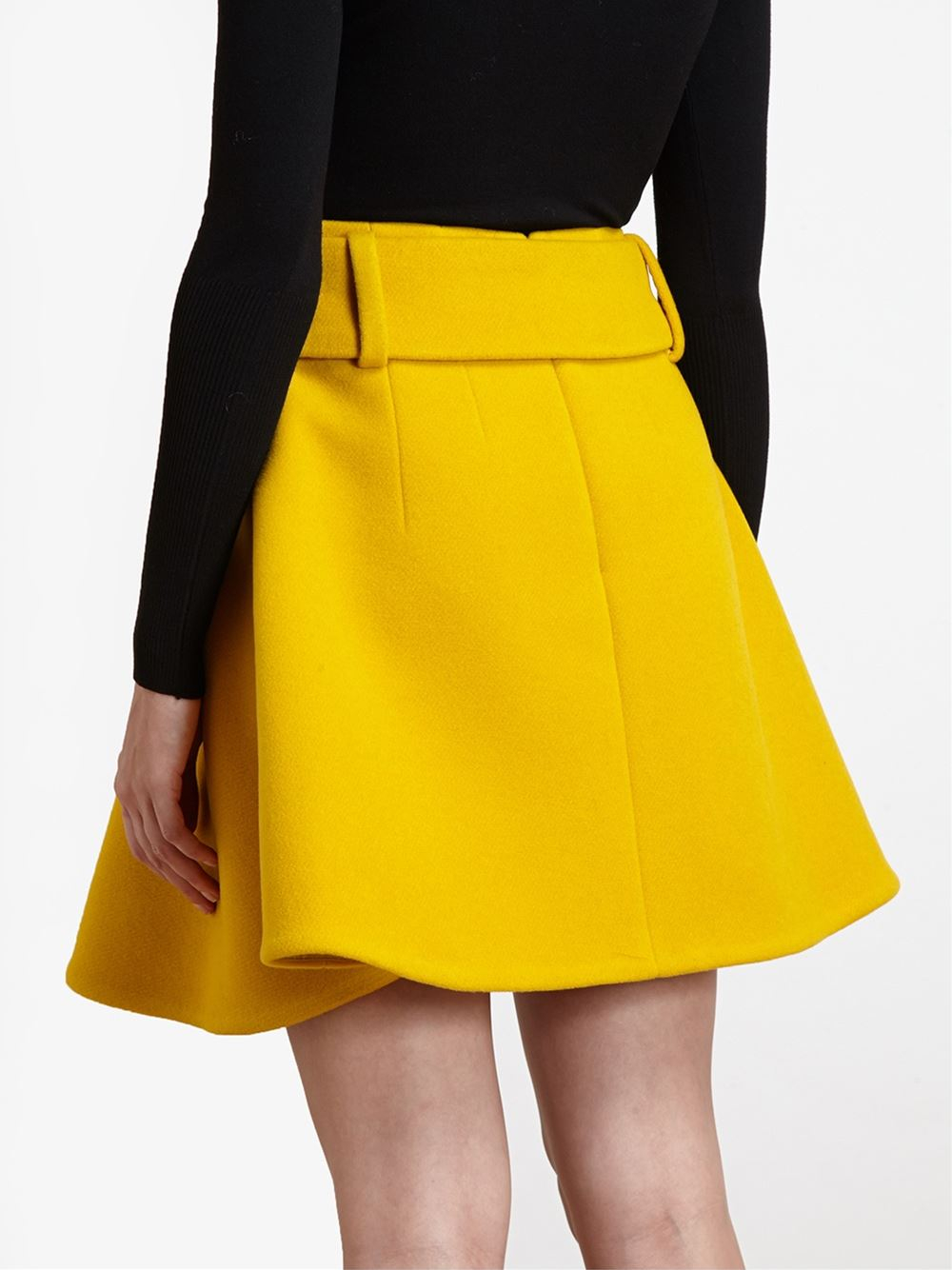Carven Belted A-Line Skirt in Yellow | Lyst