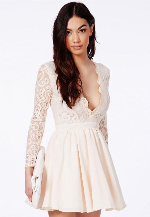 Dayana lace sleeve puffball dress