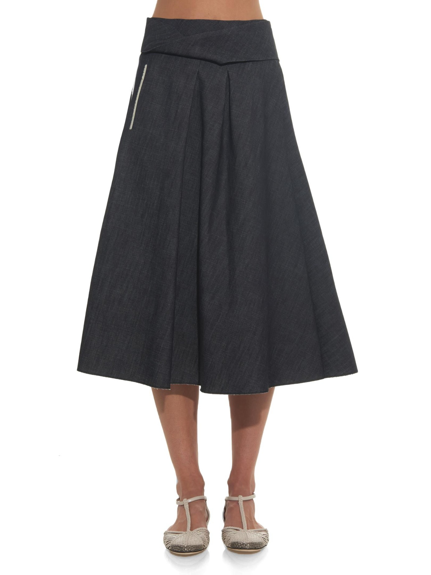 bottega veneta pleated a line denim skirt in blue lyst