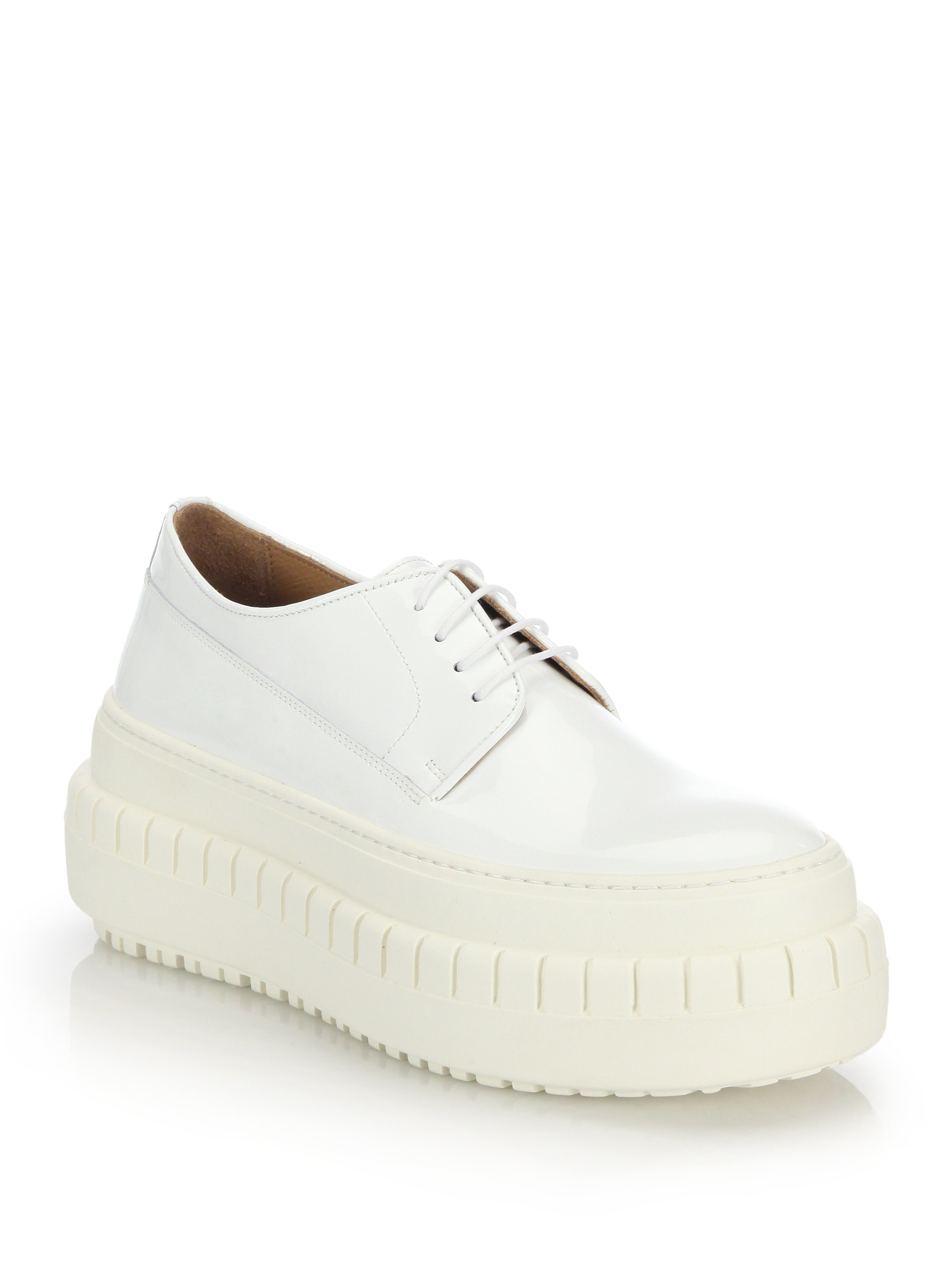 acne studios sacha leather platform lace up shoes in white