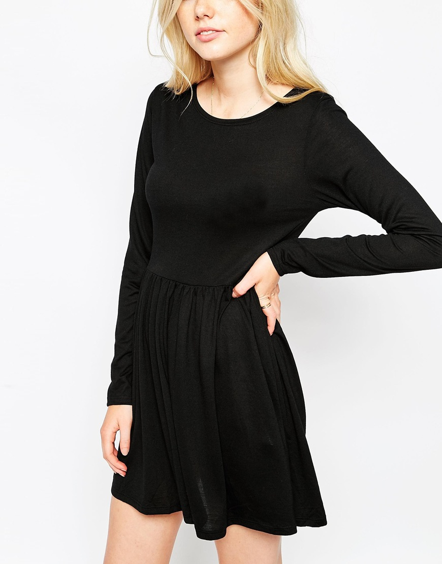 Black long sleeve skater dress