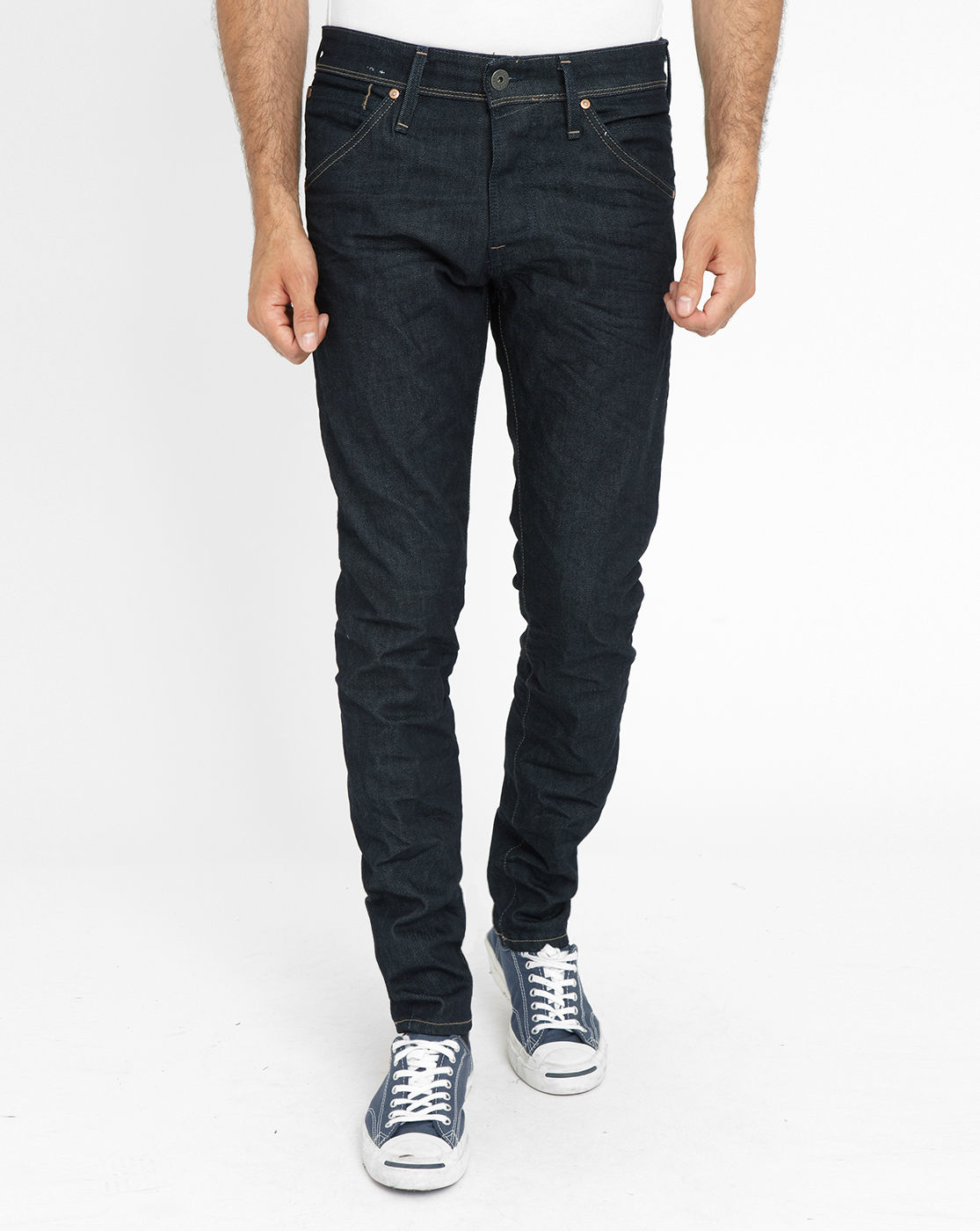 jack jones dark denim glenn slim fit jeans in blue for men denim. Black Bedroom Furniture Sets. Home Design Ideas