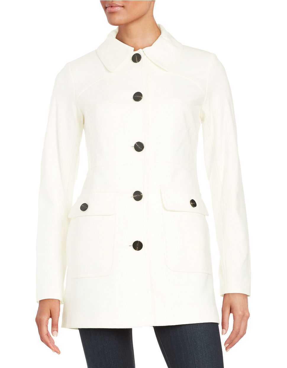 Vince camuto Button-down Car Coat in White | Lyst