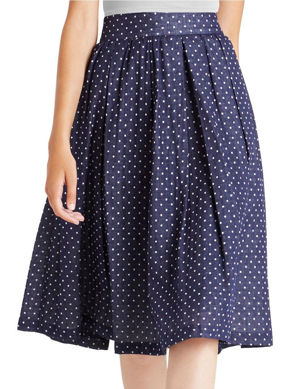 bcbgeneration pleated polka dot skirt in blue blue