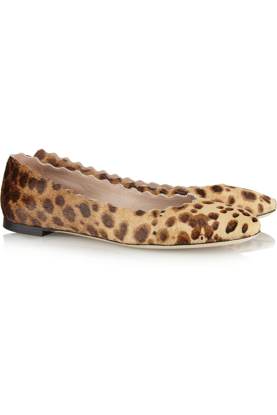 Aquazzura Women's Fearless Animal Print Ballet Flat With Genuine Calf Hair Trim CbE9Y5QY