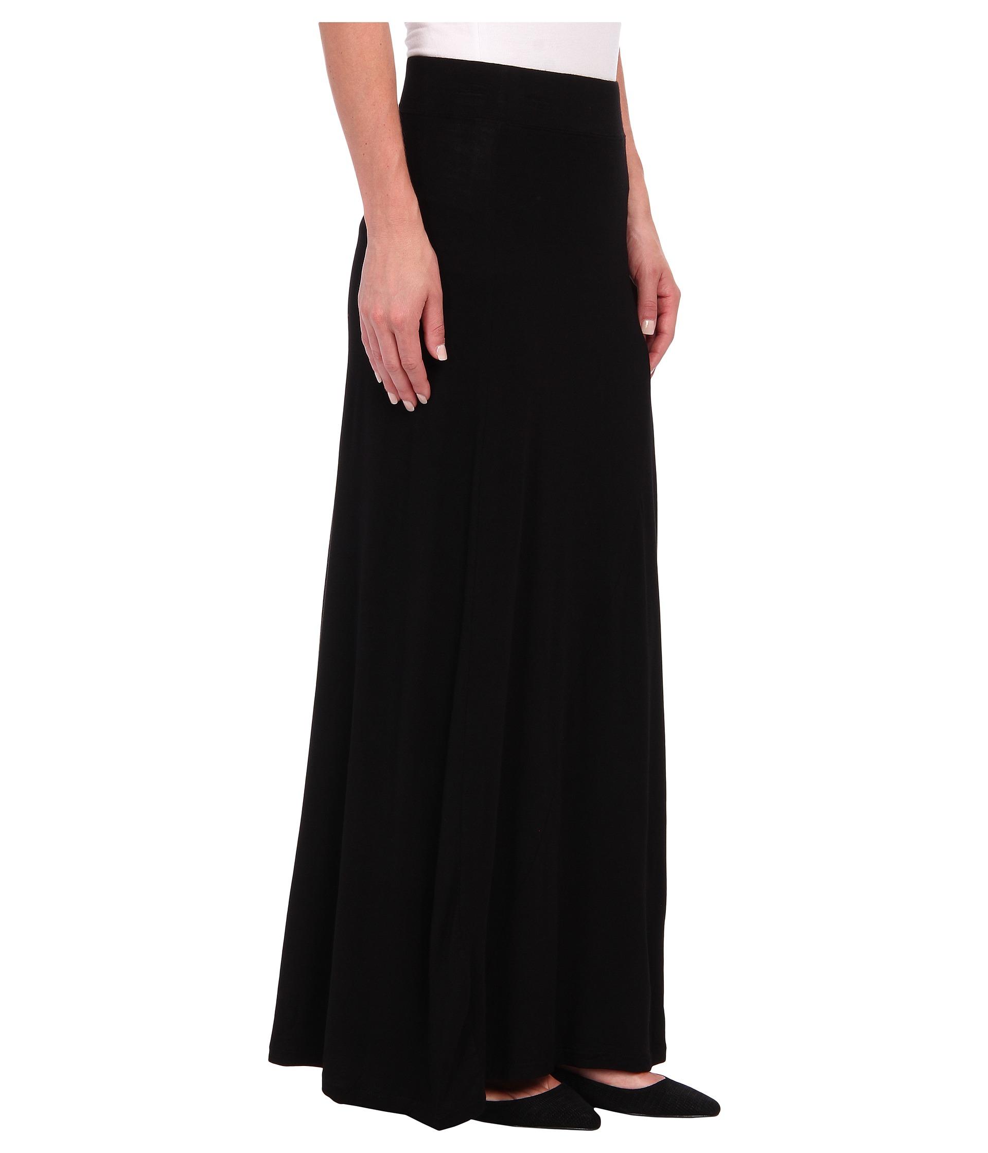 dkny seamed side slit maxi skirt in black noir lyst