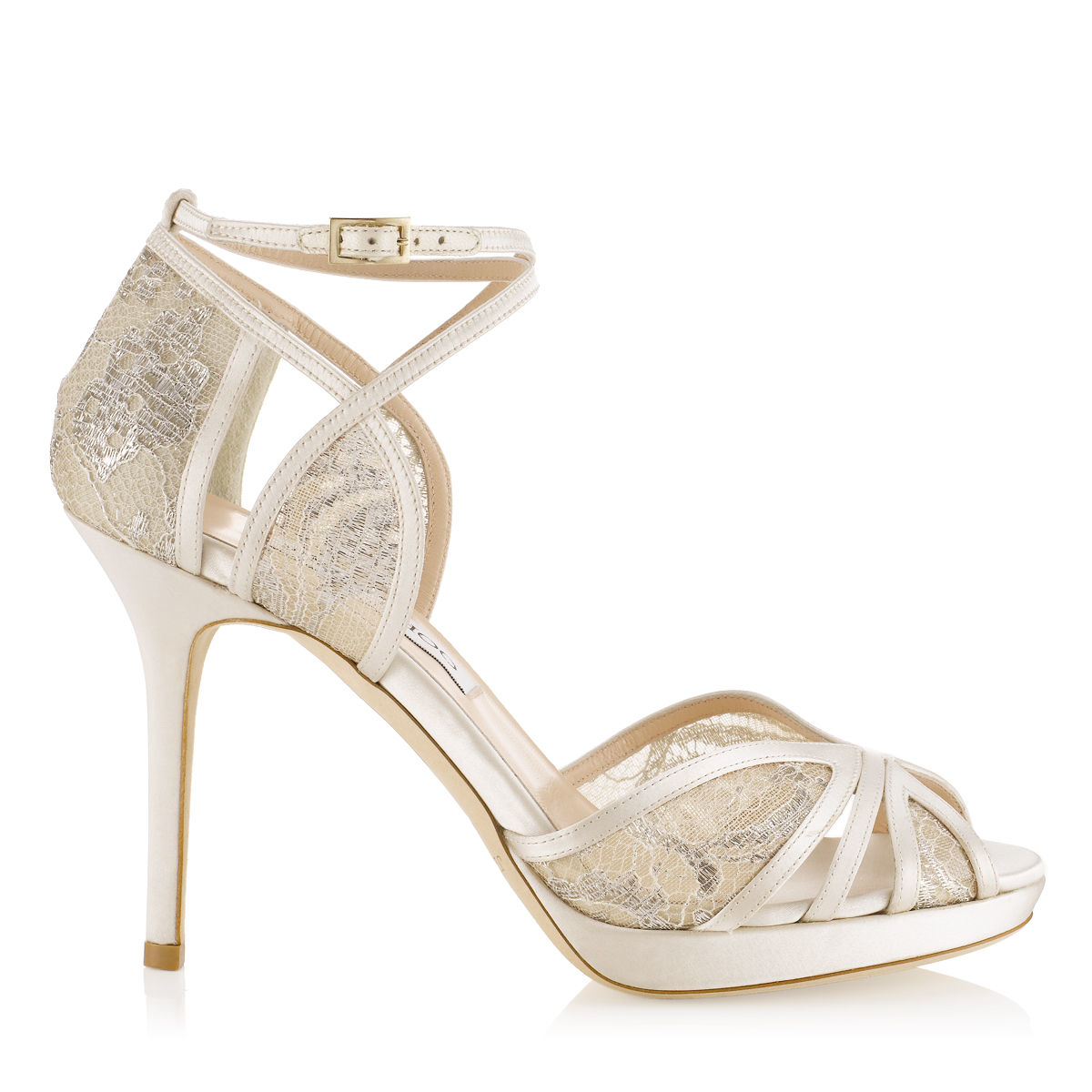 0db7c6545b0 Jimmy Choo Fable Ivory And White Satin Sandals in Natural - Lyst