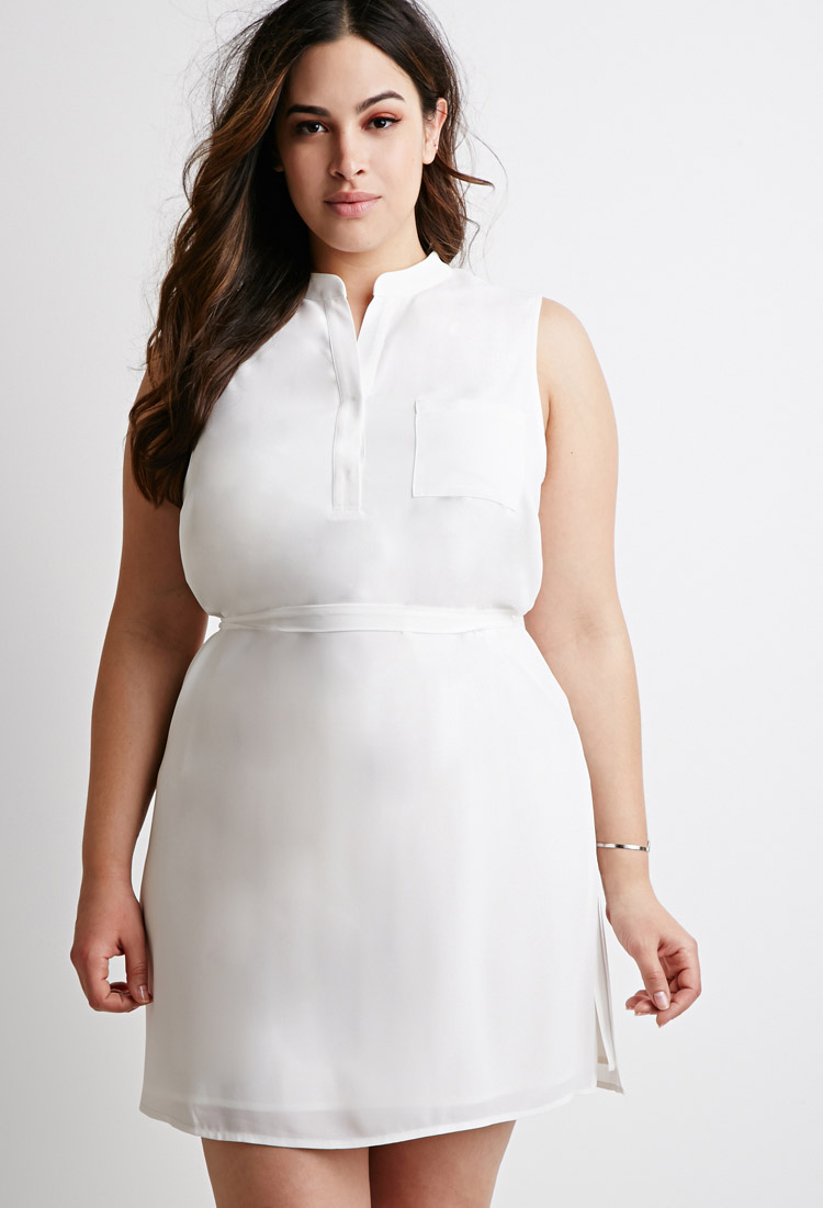 11facc7c73e5 Forever 21 Plus Size Belted Chiffon Shirt Dress in White - Lyst
