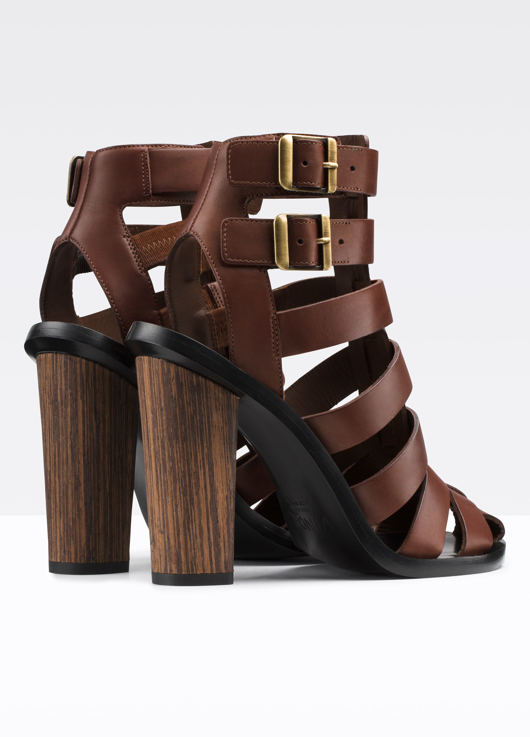 Lyst Vince Nicolette Caged Leather Heeled Sandal In Brown