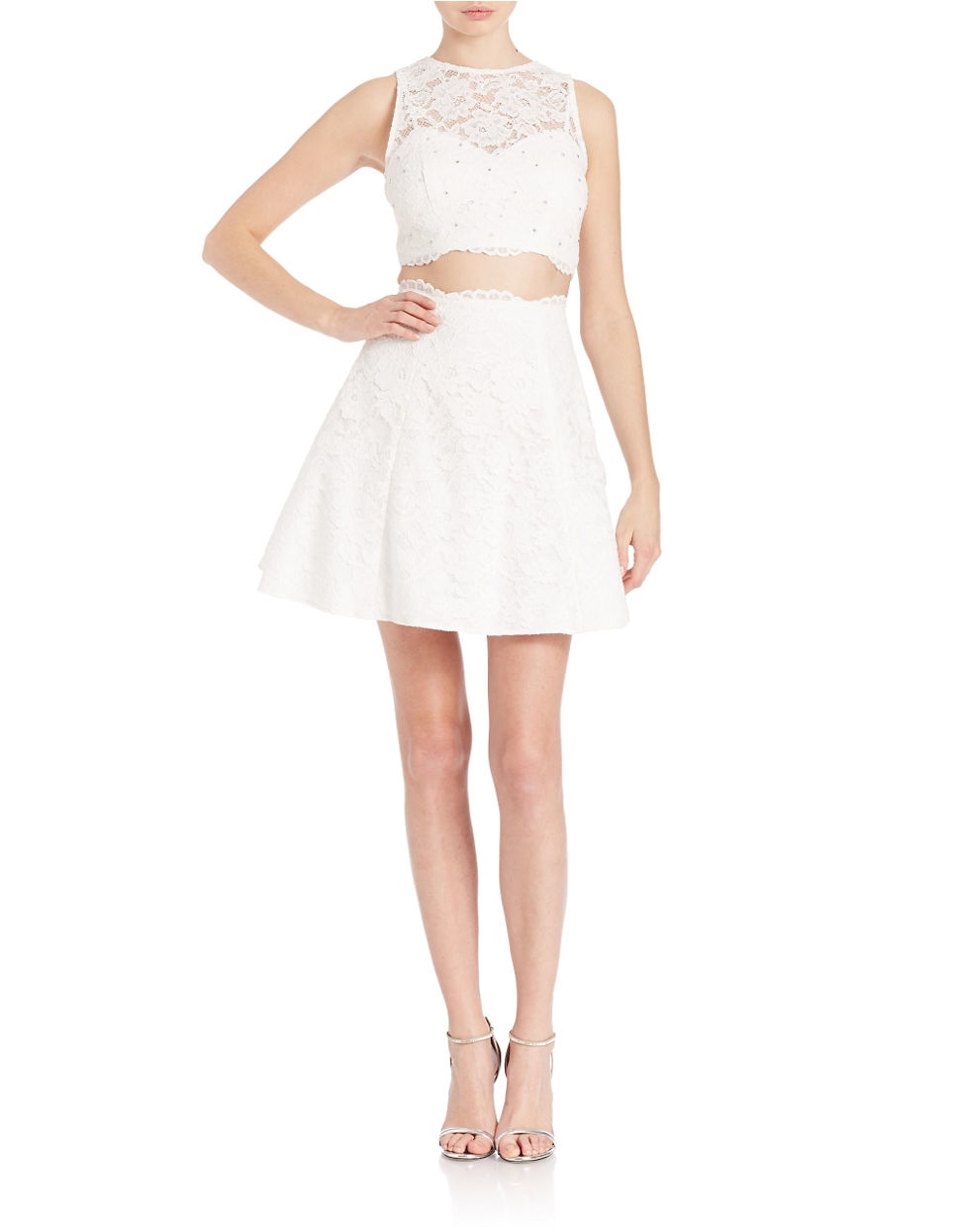 xscape 2piece crop top and skirt set in white  lyst