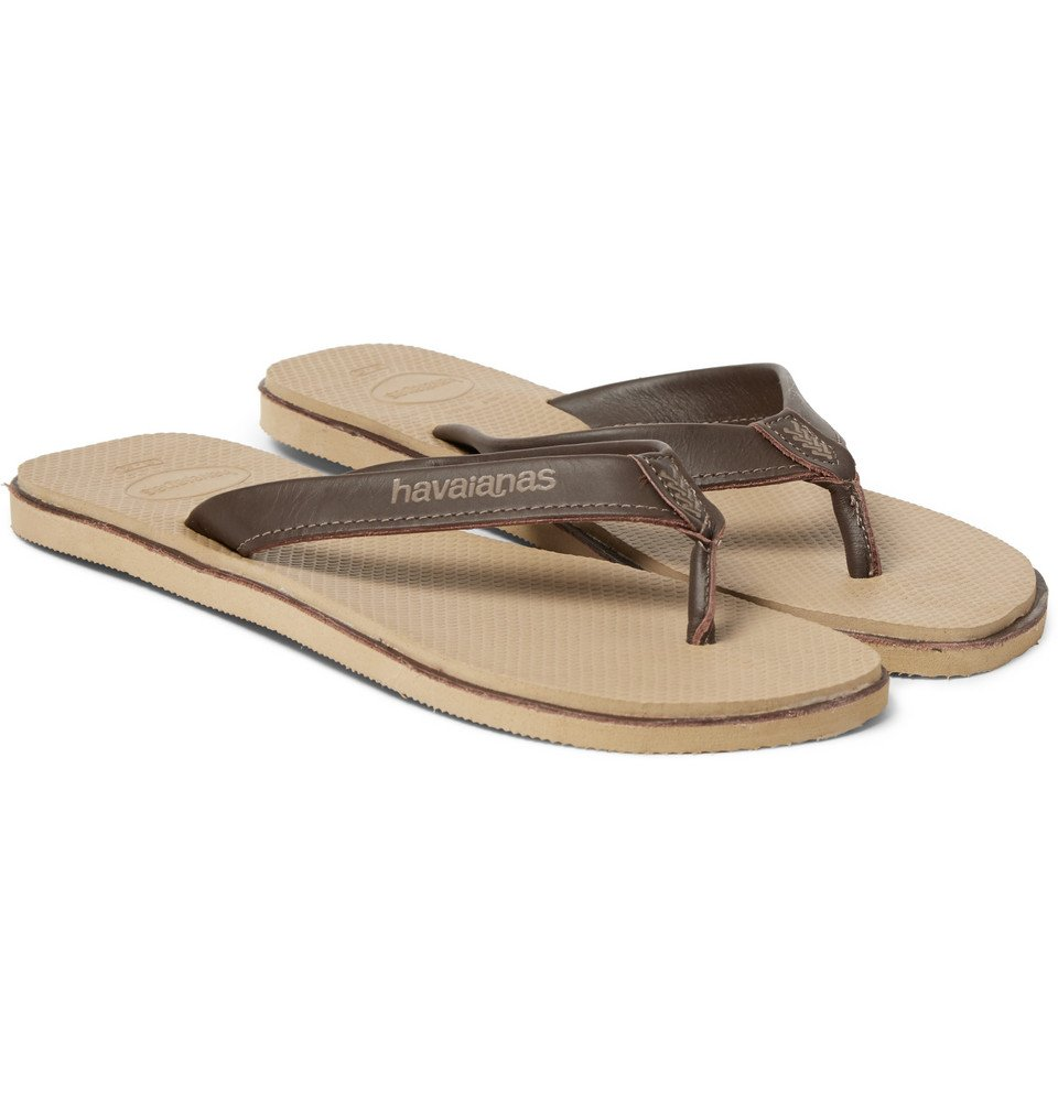 Havaianas Urban Premium Leather And Rubber Flip Flops In -2842