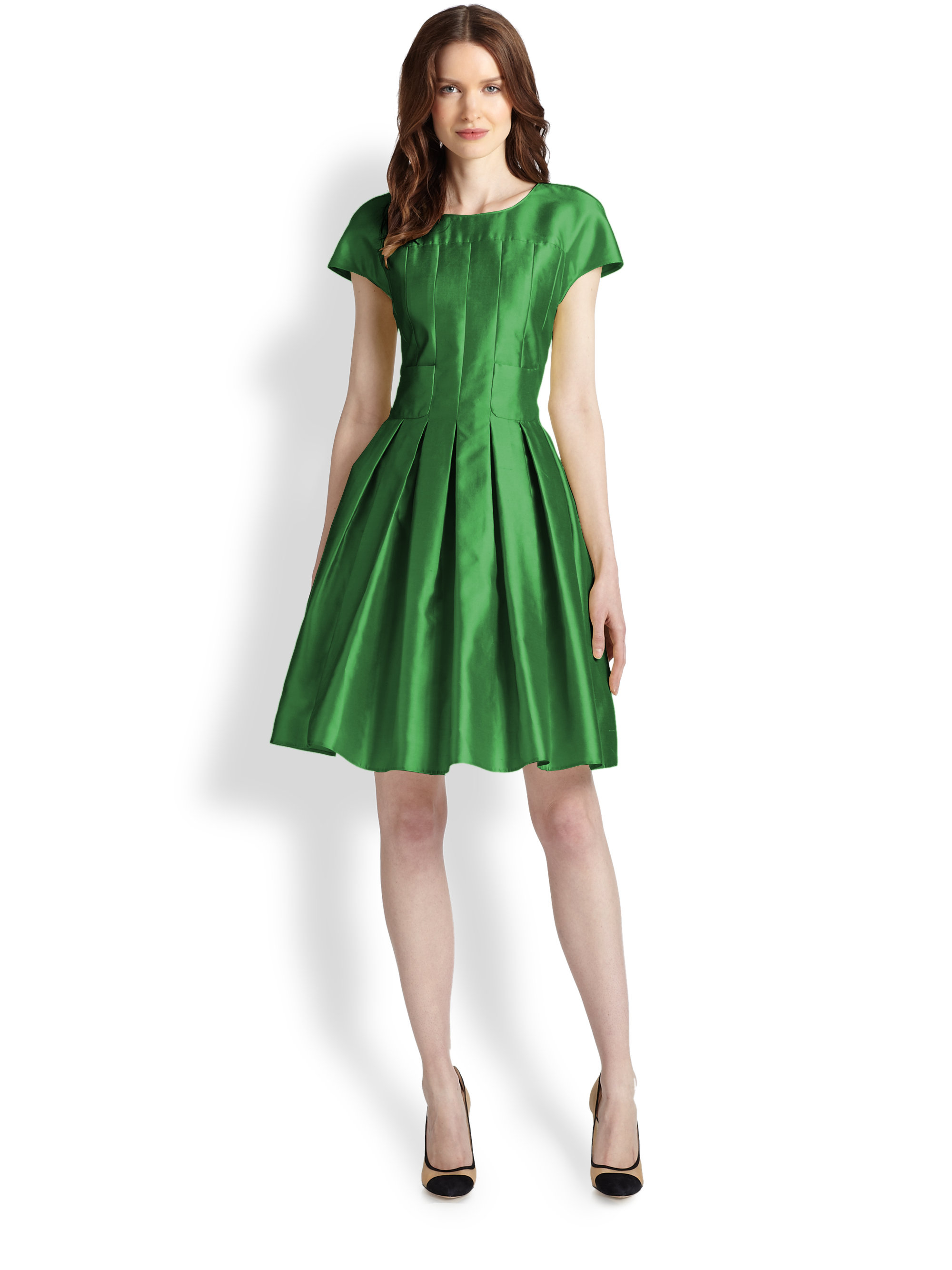 Armani Silk Cotton Gabardine Dress In Green Lyst