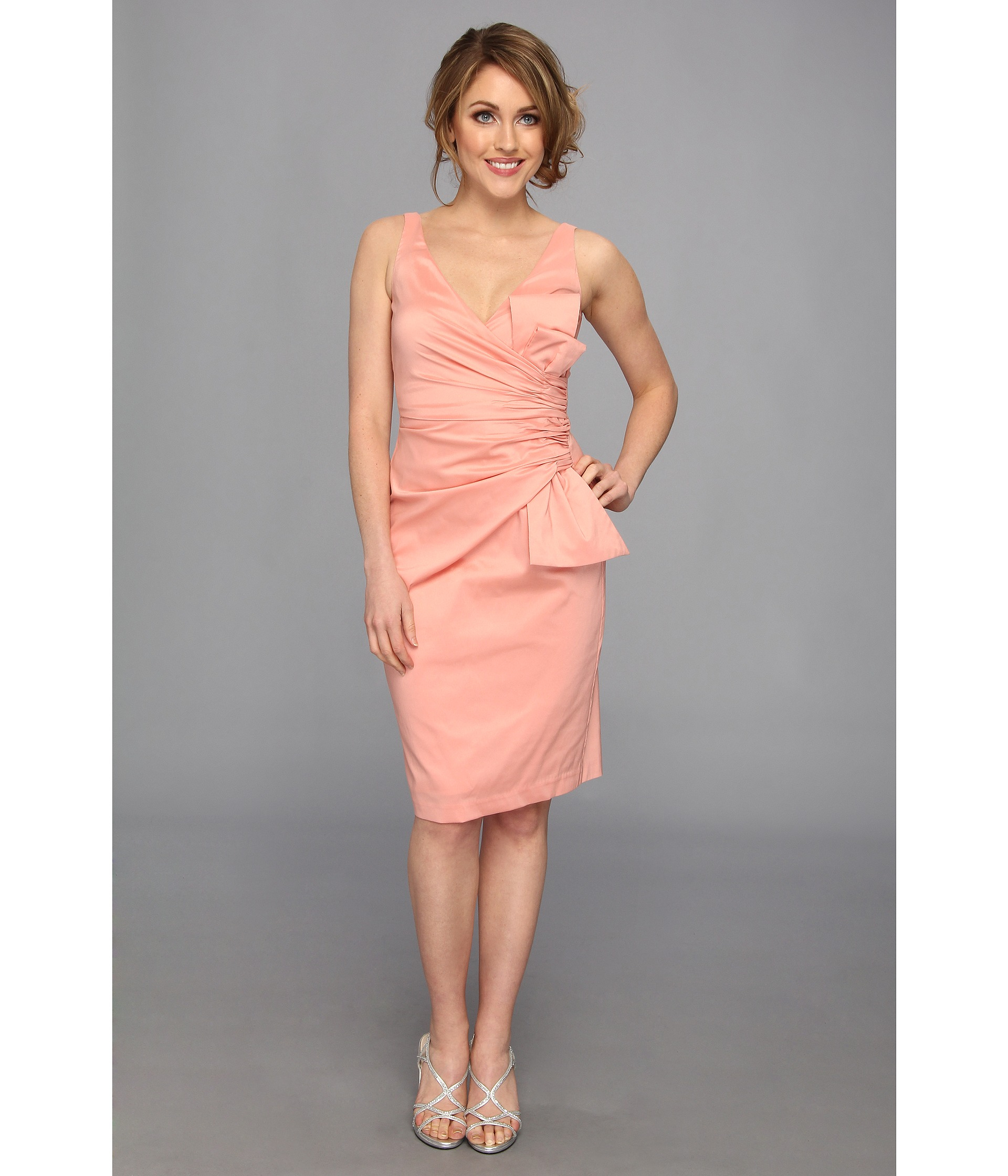 263acbc8edf Maggy London Solid Stretch Taffeta Side Bow Sleeveless Dress in Pink - Lyst