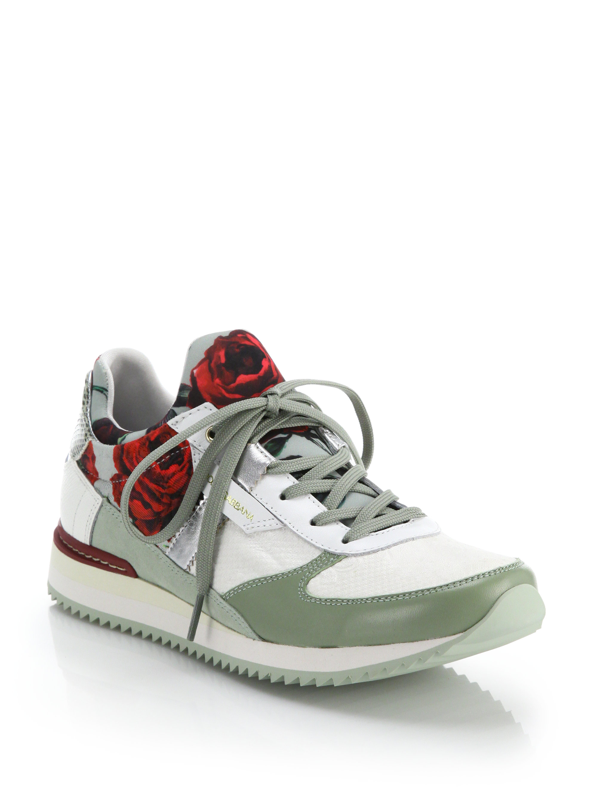 Lyst - Dolce   Gabbana Leather-Trimmed Rose-Print Sneakers in Green 667e439953bf