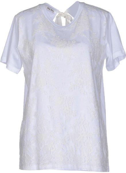 Miu miu t shirt in white for Miu miu t shirt