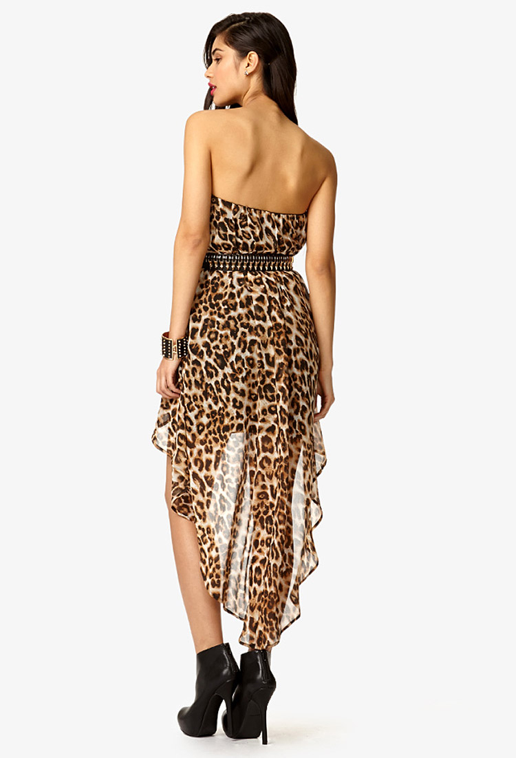 Forever 21 Strapless Leopard Print High Low Dress In Black