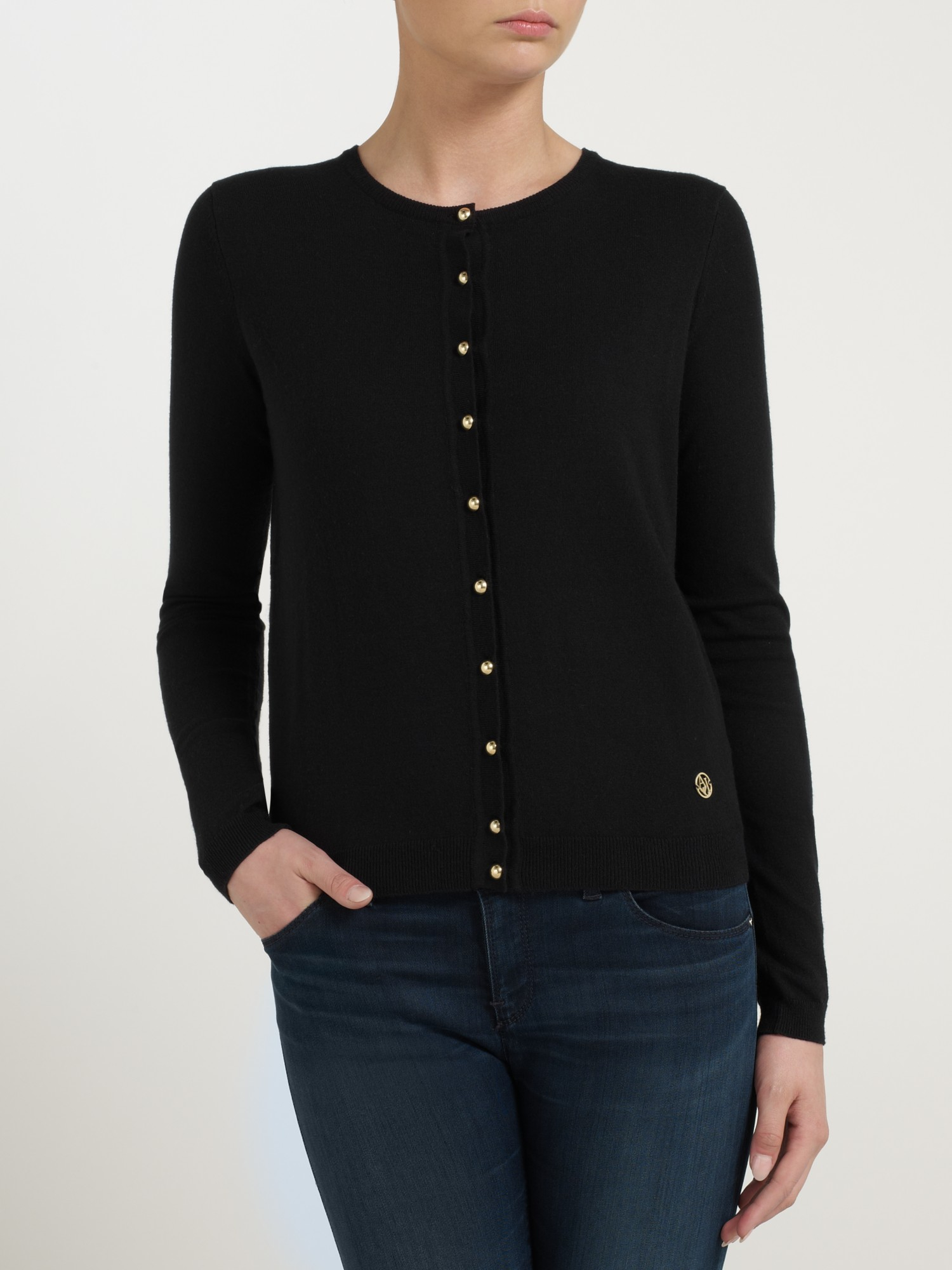 Armani jeans Gold Button Cardigan in Black | Lyst