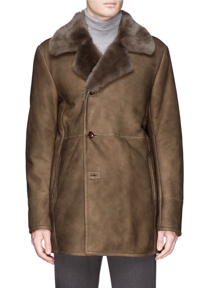Boglioli Lamb Shearling Coat in Brown for Men | Lyst