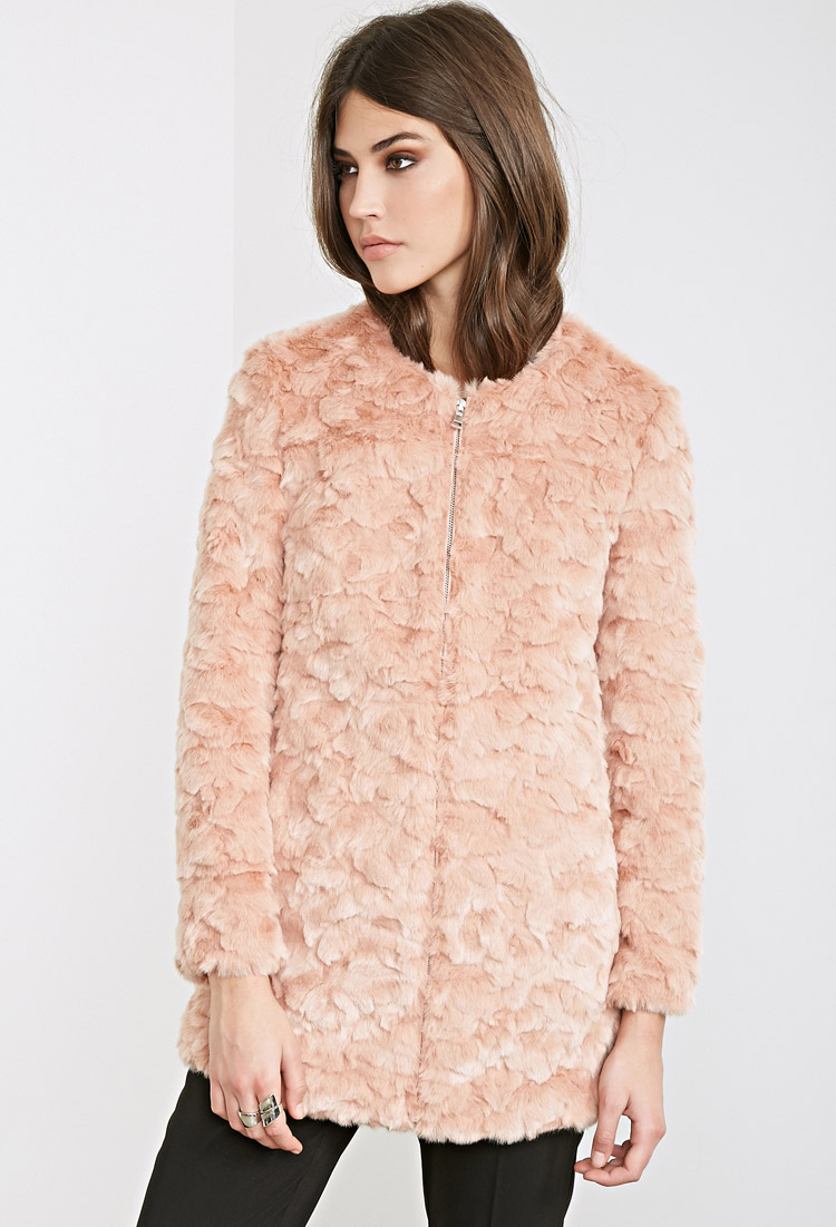 Forever 21 Textured Faux Fur Coat in Pink | Lyst