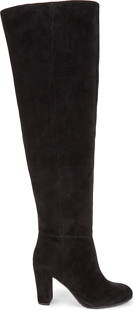 c96b3866880 Nine West Black Snowfall Suede Over-the-knee Boots