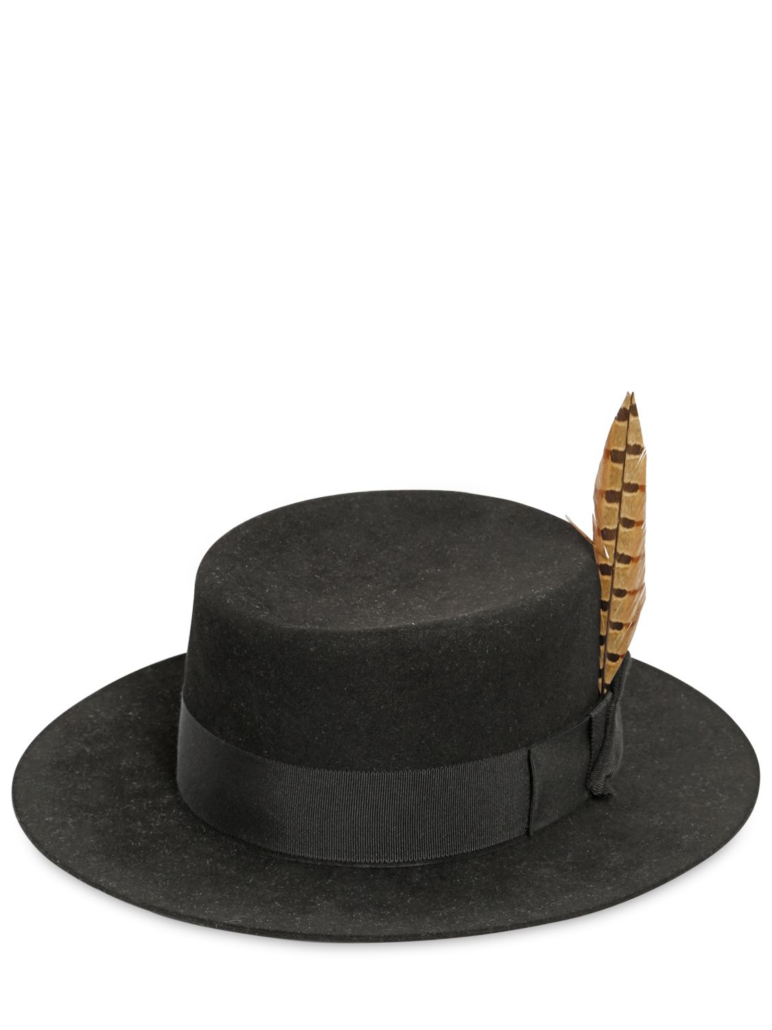 9c6f9abc5 Saint Laurent Black Felted Lapin Hat With Feather for men
