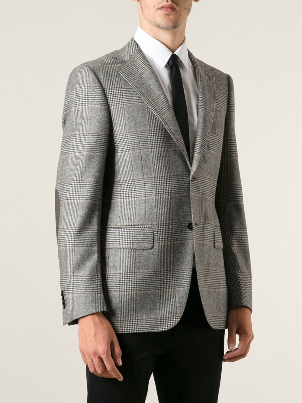Lyst Canali Prince Of Wales Check Blazer In Gray For Men
