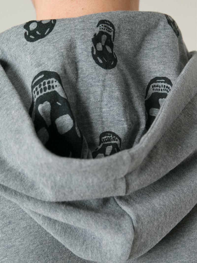 alexander mcqueen drawstring cotton hoodie in gray for men lyst. Black Bedroom Furniture Sets. Home Design Ideas
