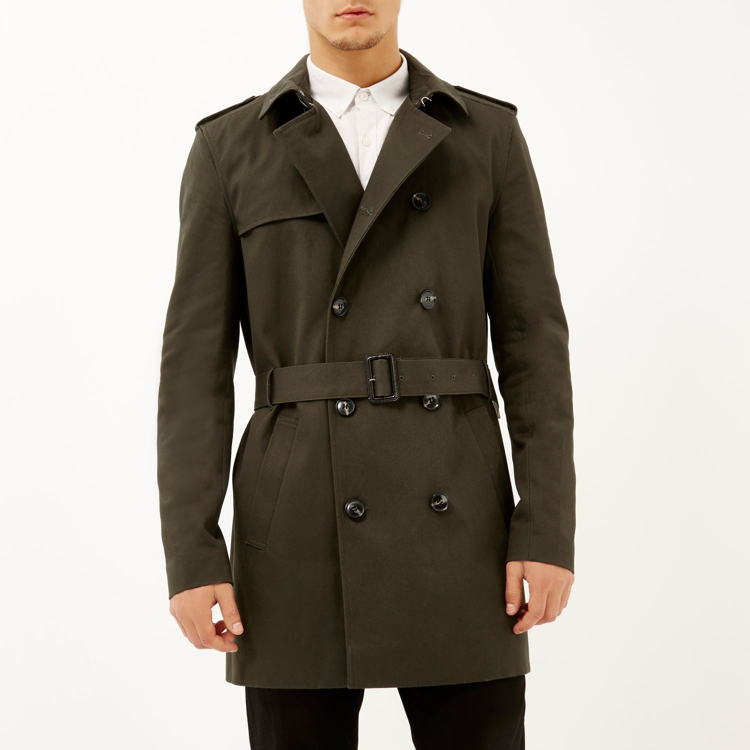 River Island Dark Green Smart Double Breasted Trench Coat