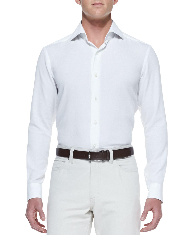 ermenegildo zegna long sleeve shirt in white for men lyst. Black Bedroom Furniture Sets. Home Design Ideas
