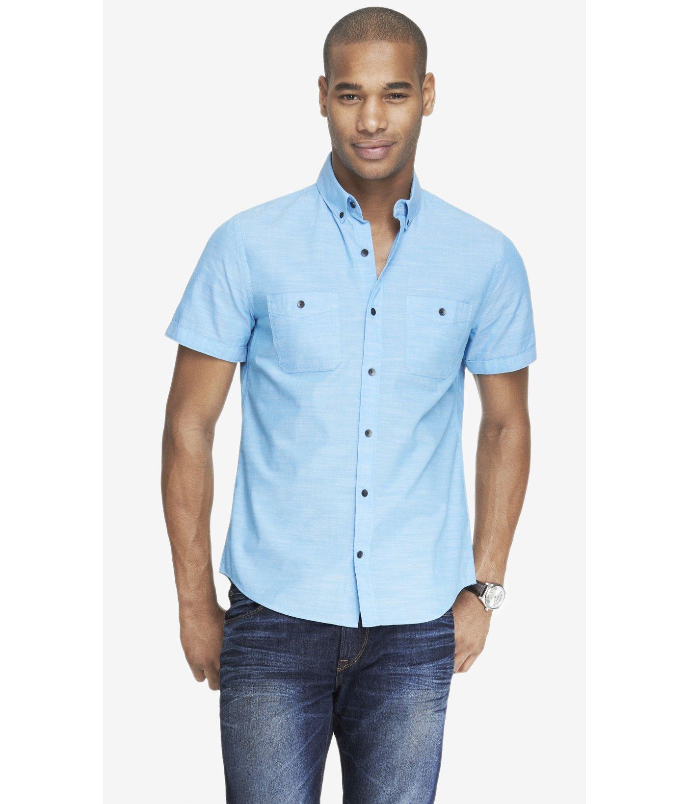 Express Short Sleeve Slub Chambray Shirt In Blue For Men