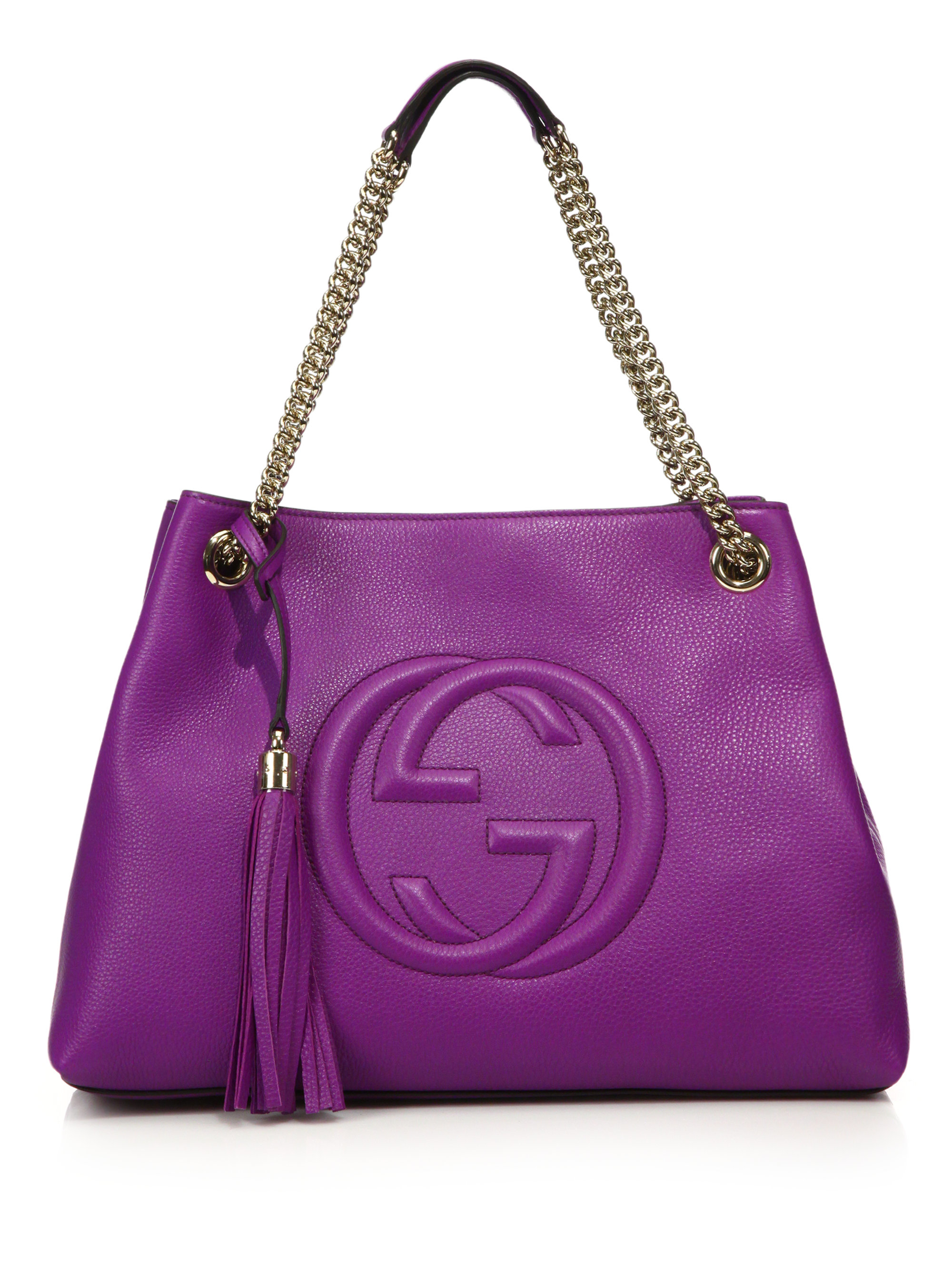 Lyst - Gucci Soho Leather Shoulder Bag in Purple 9126f636054e6