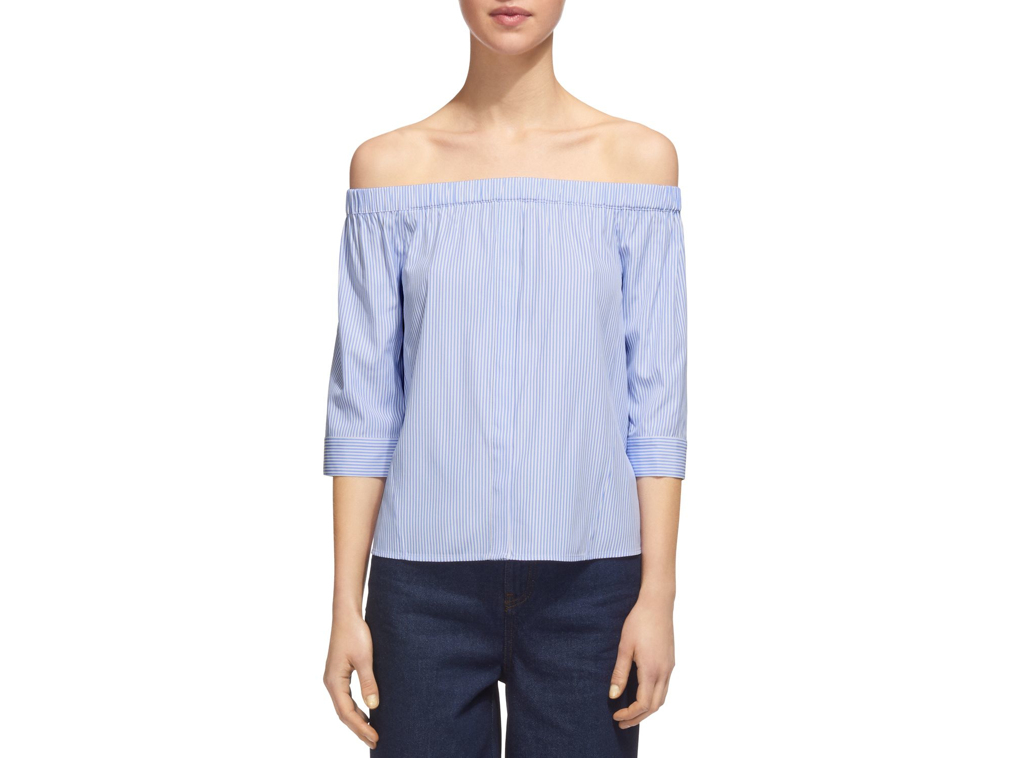 7a217d0d1dd7c Whistles Off-the-shoulder Striped Bardot Top in Blue - Lyst