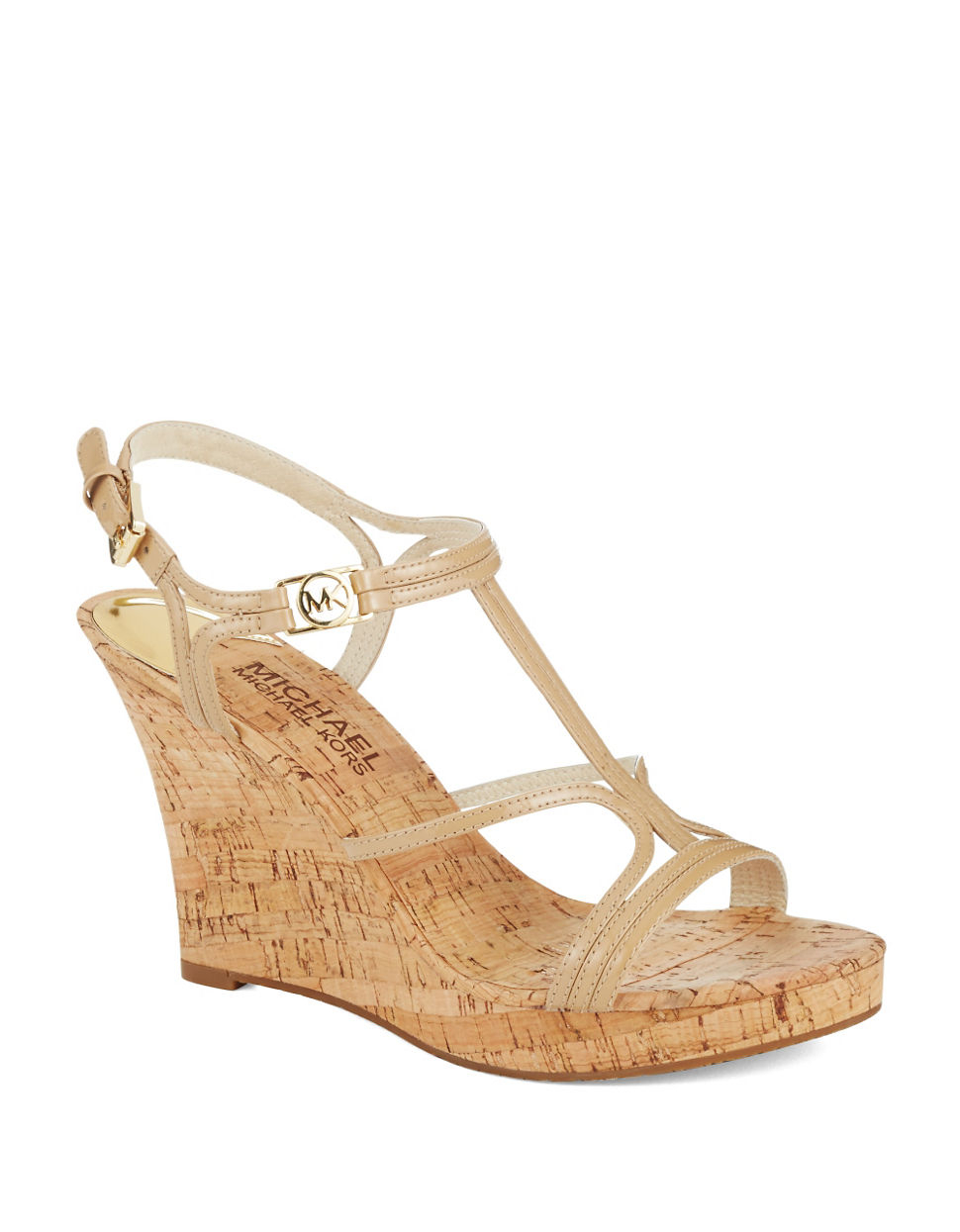 4d9a8eaa4a MICHAEL Michael Kors Cicely Cork Wedges in Natural - Lyst