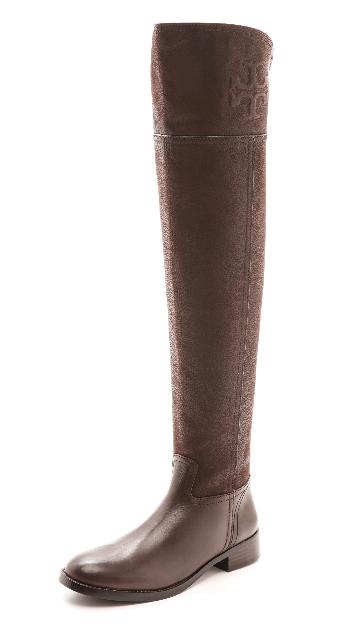 3b4e34636 Lyst - Tory Burch Simone Over The Knee Flat Boots Black in Brown