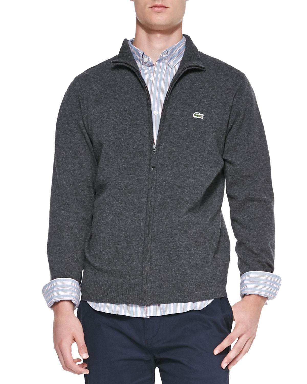 11e1e1bf0e Lacoste Gray Full-zip Wool Sweater for men