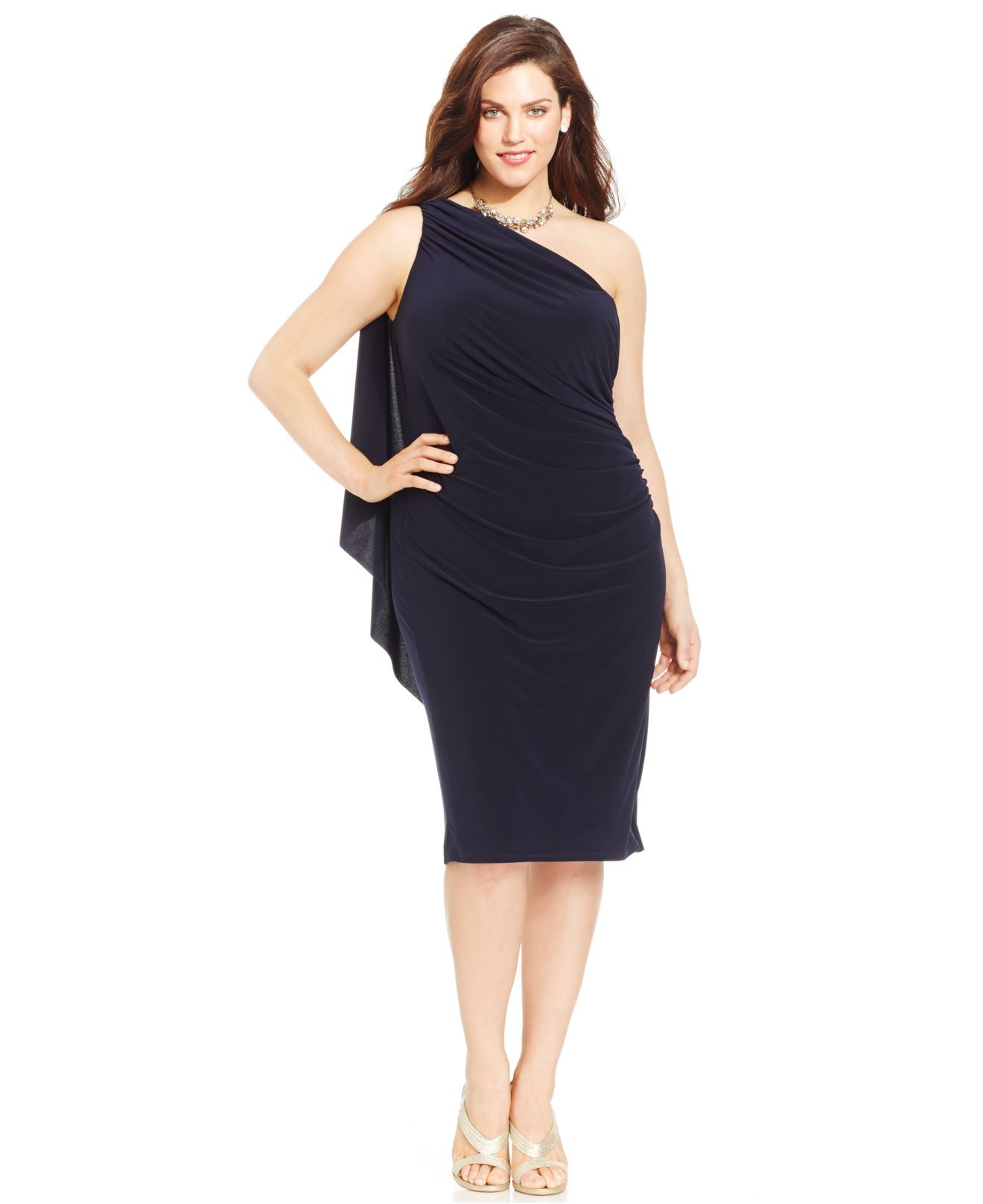 Women\'s Blue Plus Size One-shoulder Ruched Dress