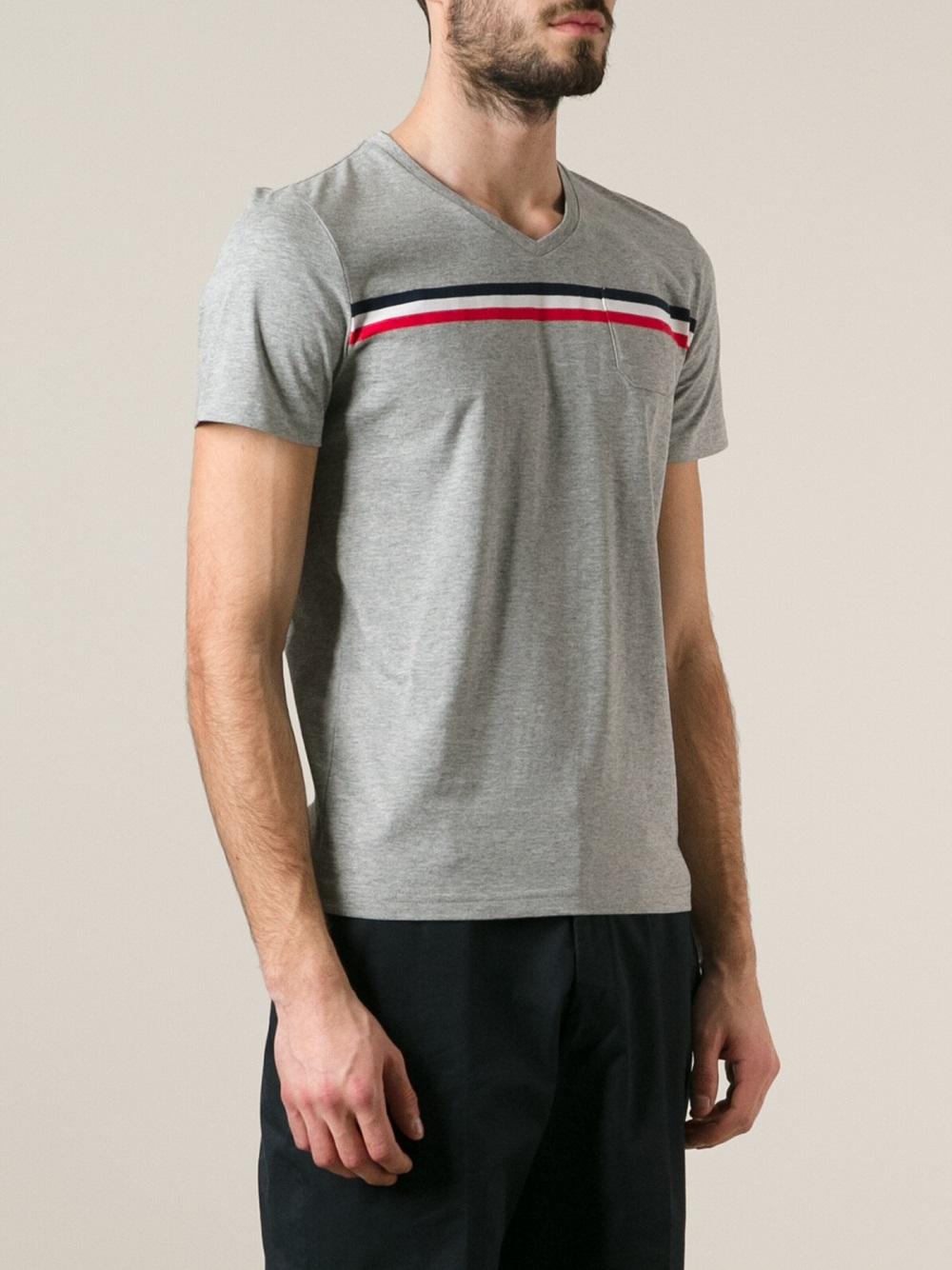 Moncler stripe tshirt in gray for men lyst Grey striped t shirt