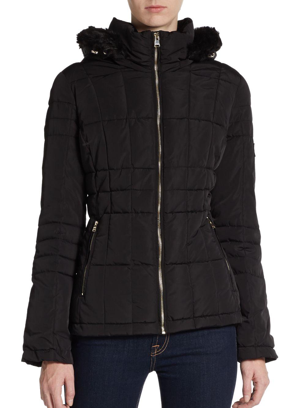 Lyst Calvin Klein Hooded Faux Fur Trimmed Puffer Jacket