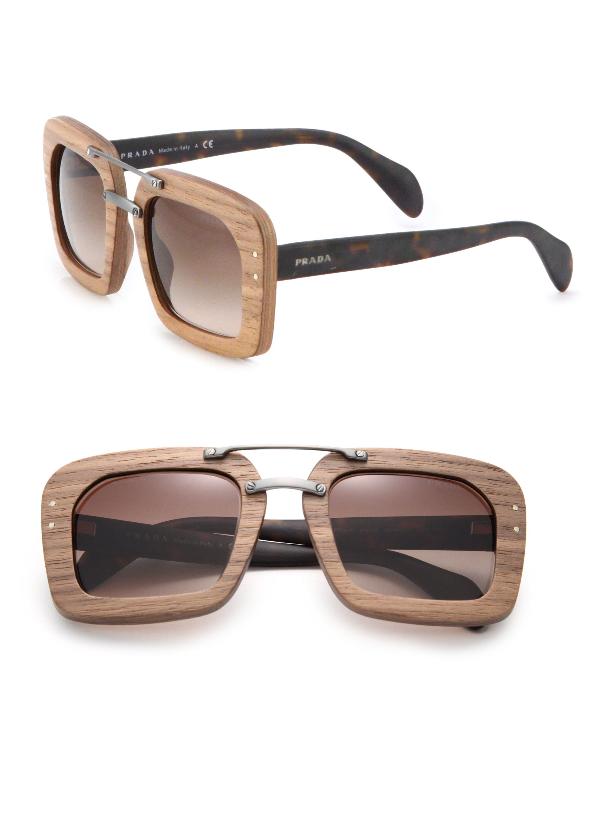 2551e91050 ... france lyst prada wooden 51mm square sunglasses in brown 2d3f4 ccc68