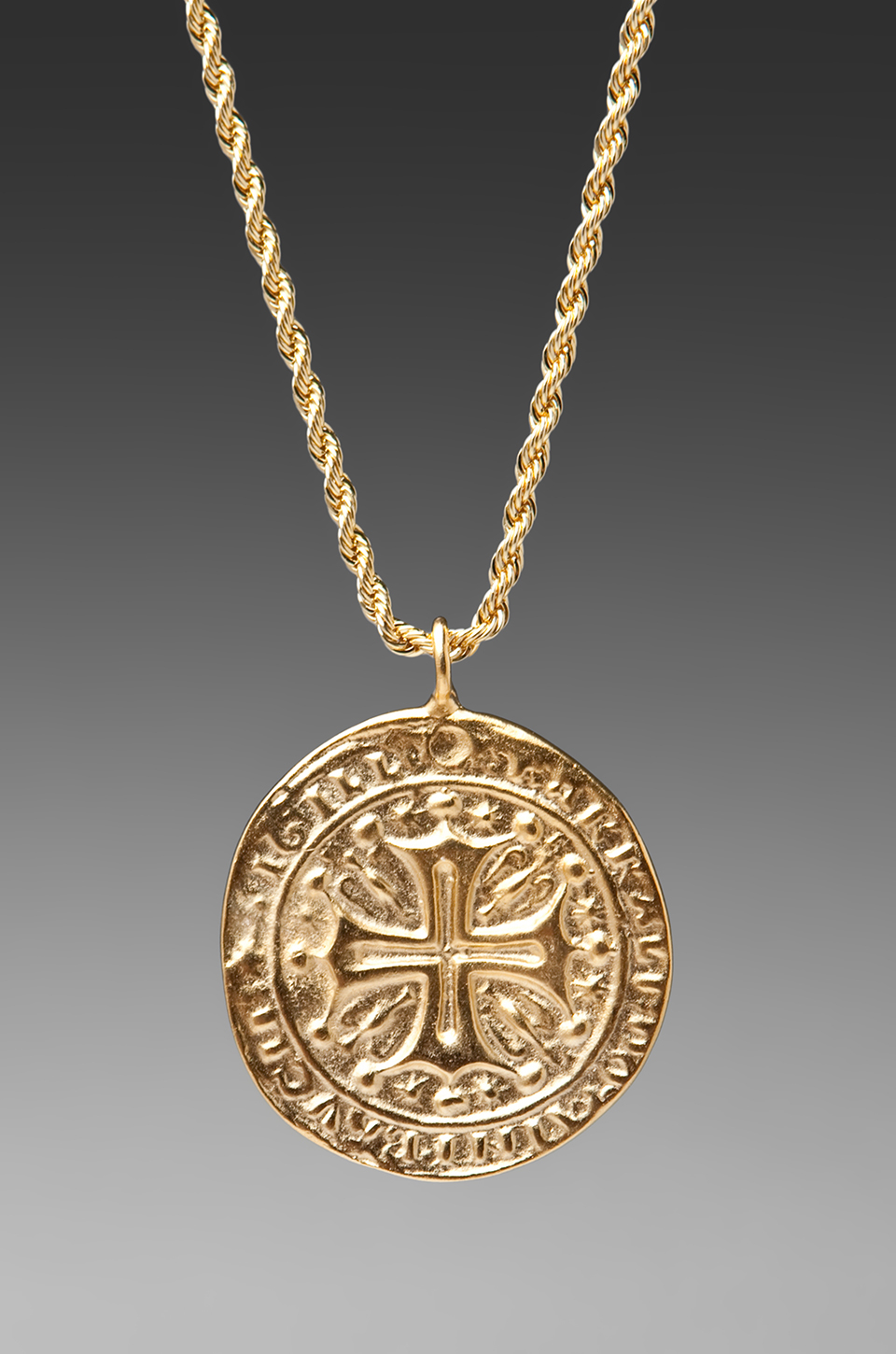 Lyst Kenneth Jay Lane Gold Cross Medallion Necklace In