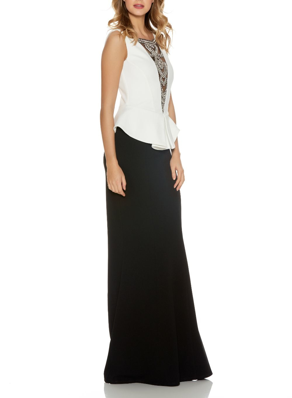 Quiz black diamante fishtail maxi dress in white lyst Fashion designer style quiz