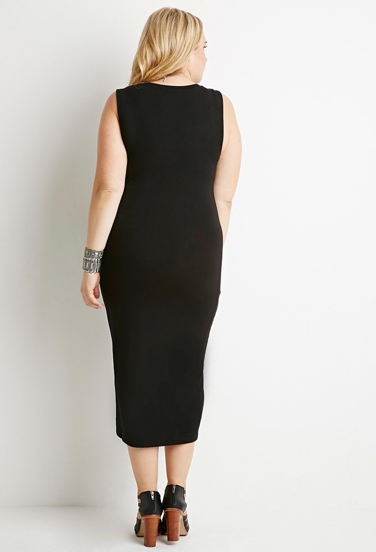 Forever 21 Synthetic Plus Size V Neck Midi Dress In Black