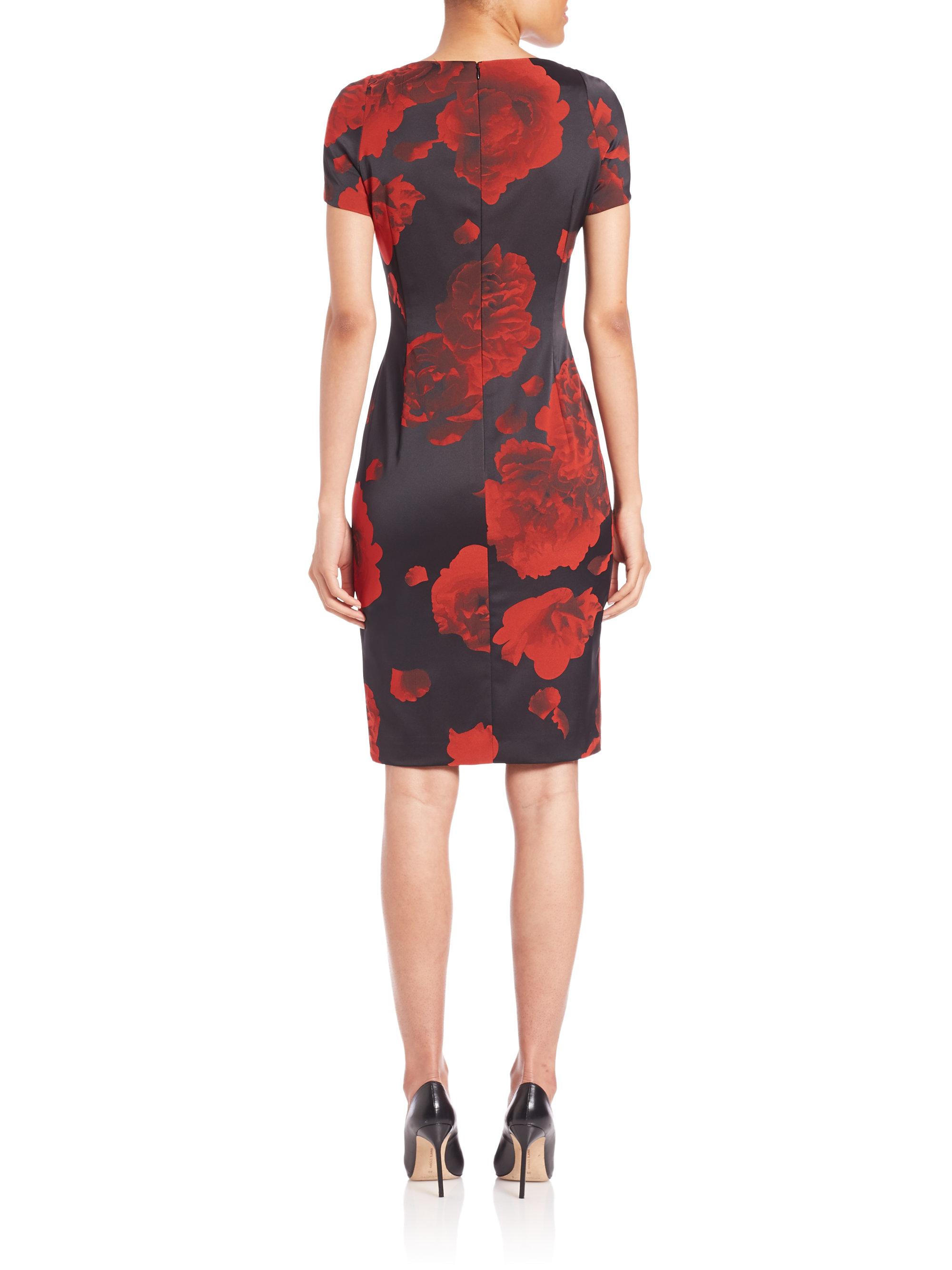 Lyst - Escada Rose-print Dress in Red