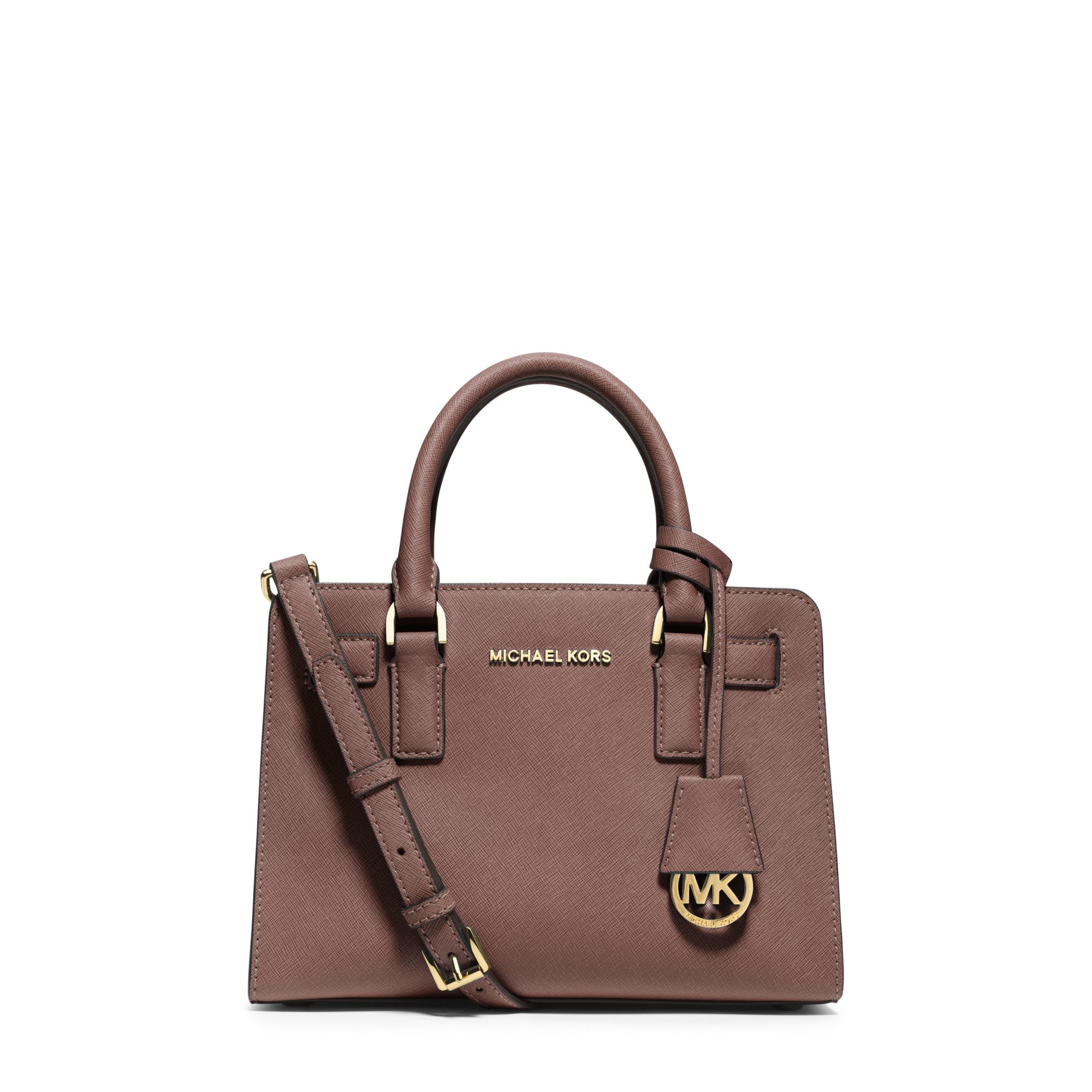 87cea35b72bfb Lyst - Michael Kors Dillon Small Saffiano-Leather Satchel in Brown